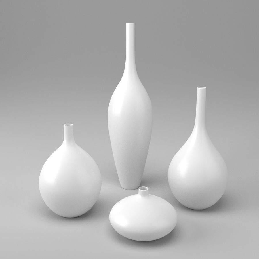 White Decor Vase Set royalty-free 3d model - Preview no. 1