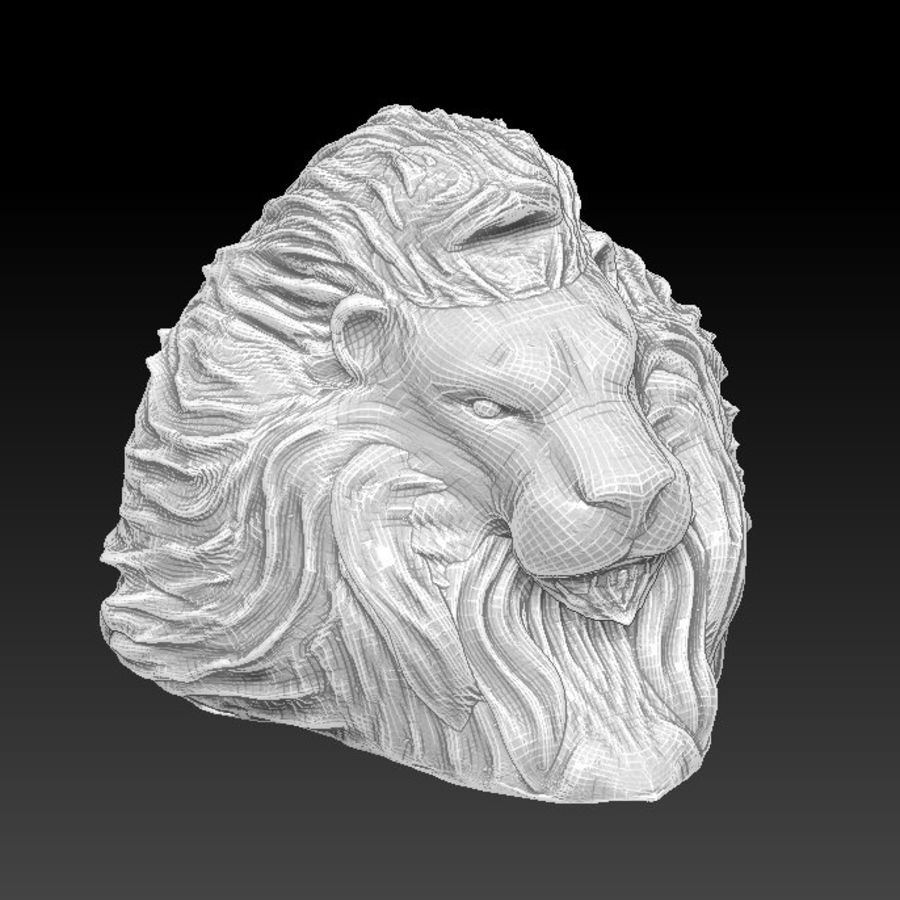 Lion head bust royalty-free 3d model - Preview no. 2
