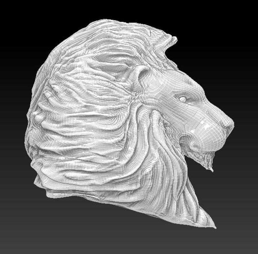 Lion head bust royalty-free 3d model - Preview no. 1