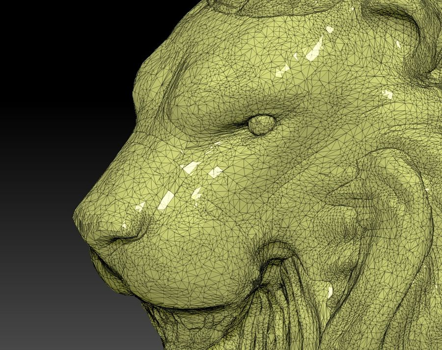 Lion head bust royalty-free 3d model - Preview no. 7