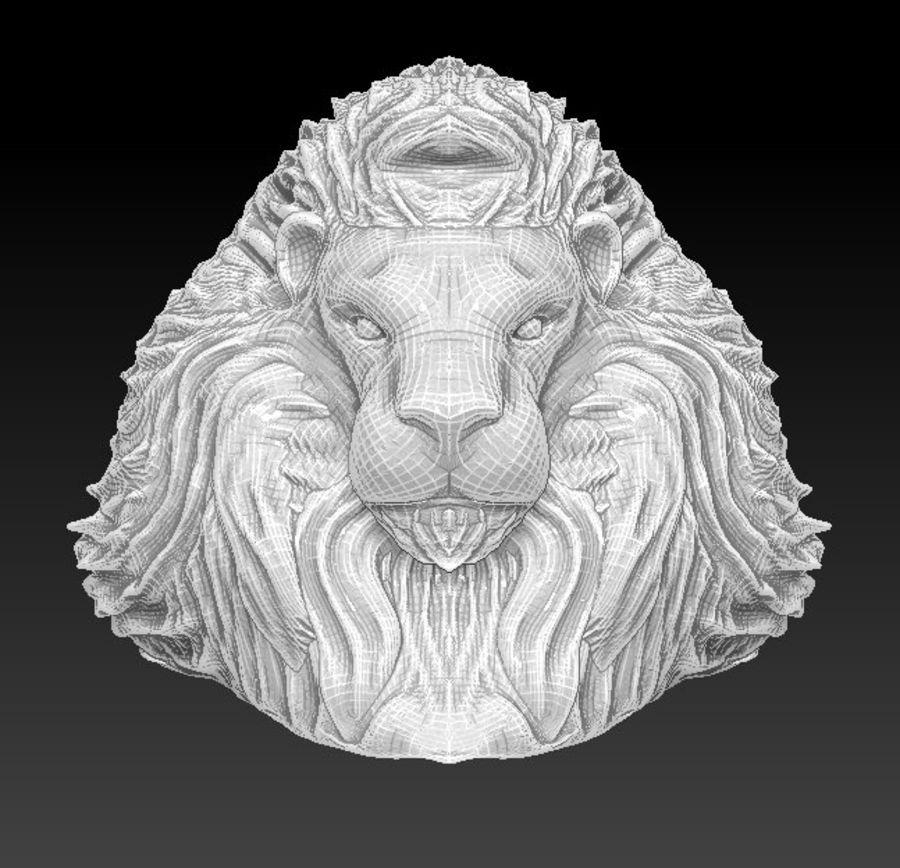 Lion head bust royalty-free 3d model - Preview no. 3