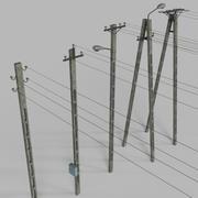 Electric Pole Concrete COLLECTION 3d model