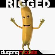 Мультфильм банан Rigged 3d model