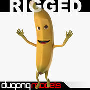 Cartoon Banana Rigged 3d model