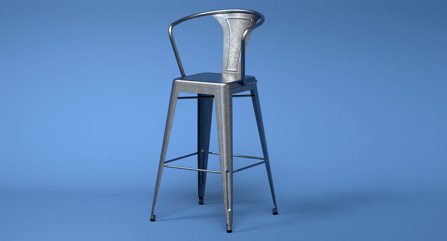 Sgabello da bar vintage in metallo con schienale modello d