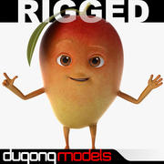 Cartoon Red Mango Rigged 3d model