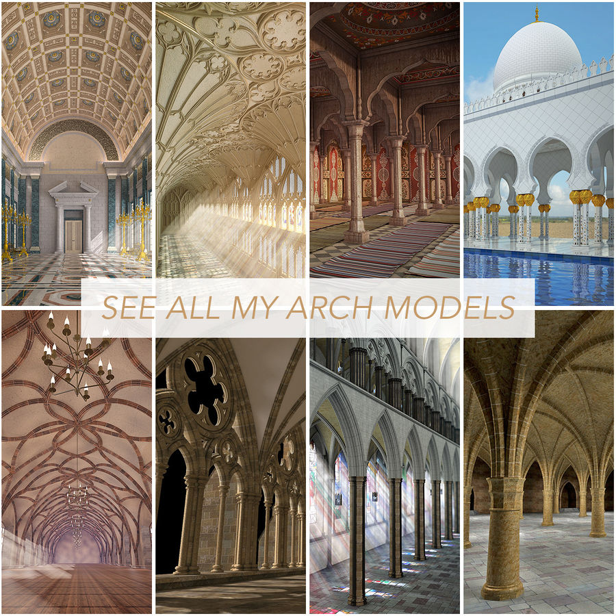 Badshahi Mosque Chiniot 3D Model $49 -  unknown  max  fbx