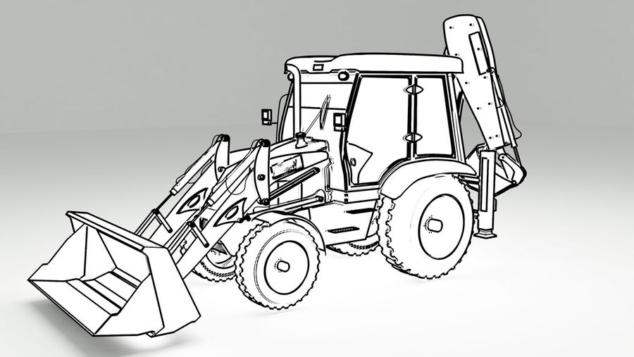 backhoe loader royalty-free 3d model - Preview no. 9