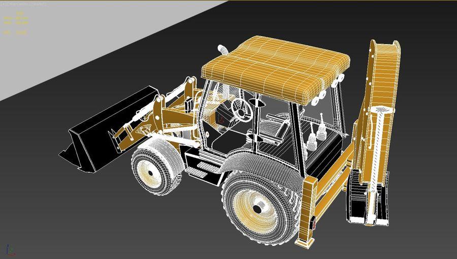 backhoe loader royalty-free 3d model - Preview no. 8