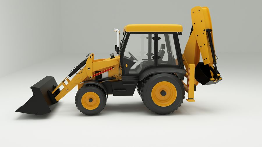 backhoe loader royalty-free 3d model - Preview no. 2