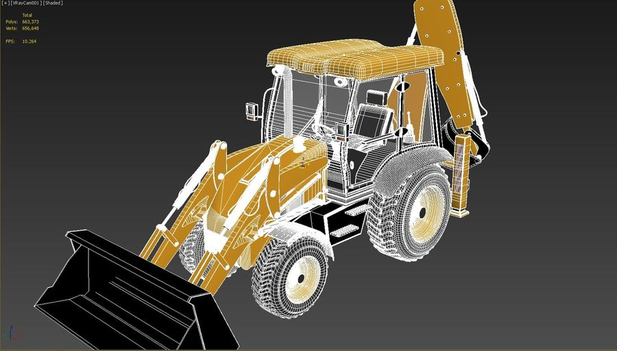 backhoe loader royalty-free 3d model - Preview no. 7