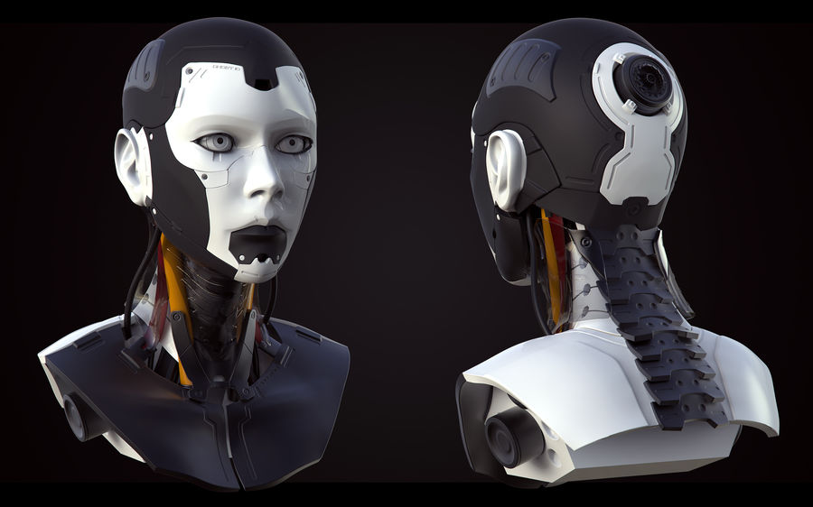 High Poly Female Cyborg Head royalty-free 3d model - Preview no. 2