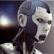 High Poly Female Cyborg Head 3d model