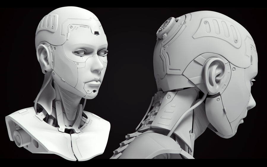 High Poly Female Cyborg Head royalty-free 3d model - Preview no. 5
