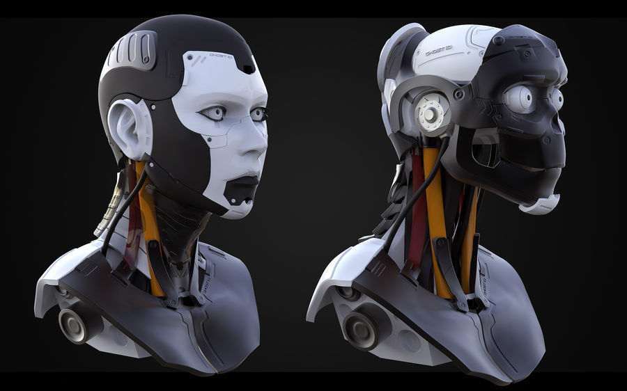 High Poly Female Cyborg Head royalty-free 3d model - Preview no. 3