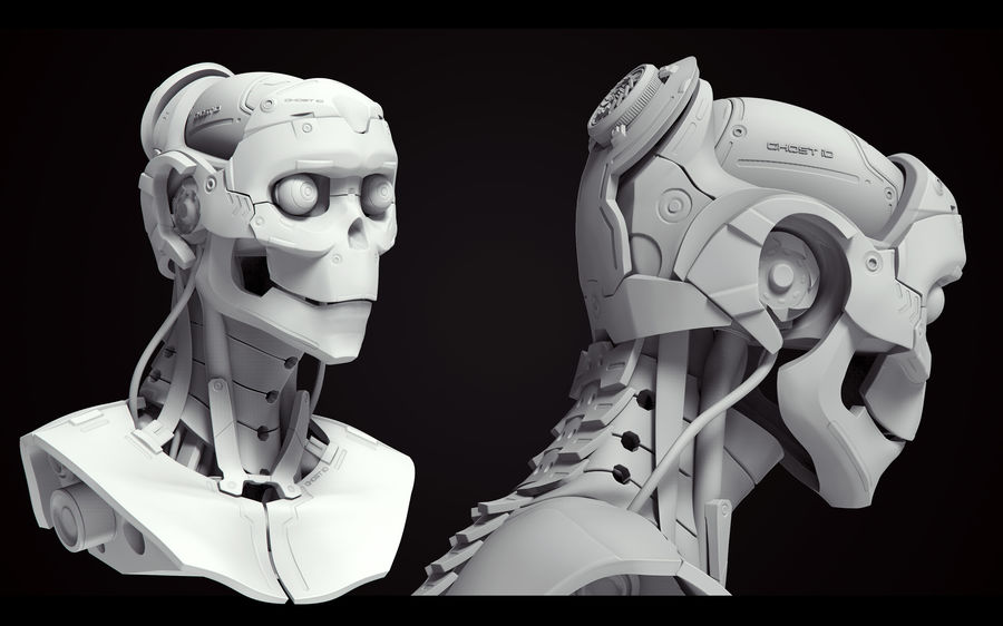 High Poly Female Cyborg Head royalty-free 3d model - Preview no. 4