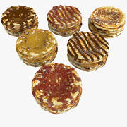 Pancake pile chocolate Coating glazuur cover siroop Icing frosting rood fruit 3d model