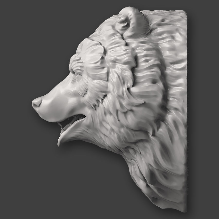 Bear Head Sculpture royalty-free 3d model - Preview no. 7