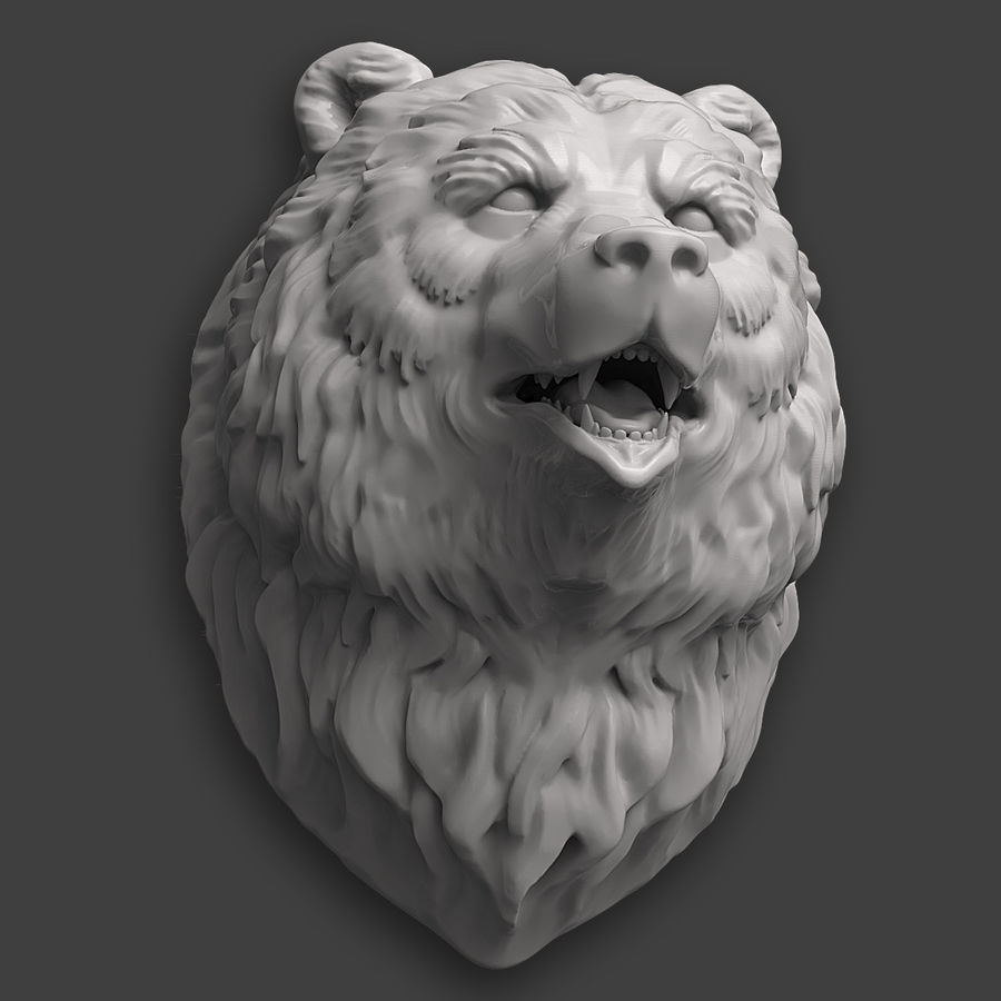 Bear Head Sculpture royalty-free 3d model - Preview no. 8
