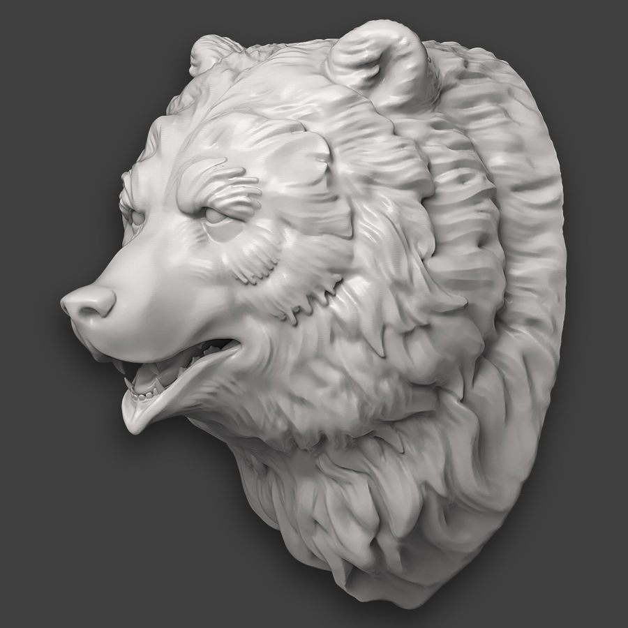 Bear Head Sculpture royalty-free 3d model - Preview no. 6