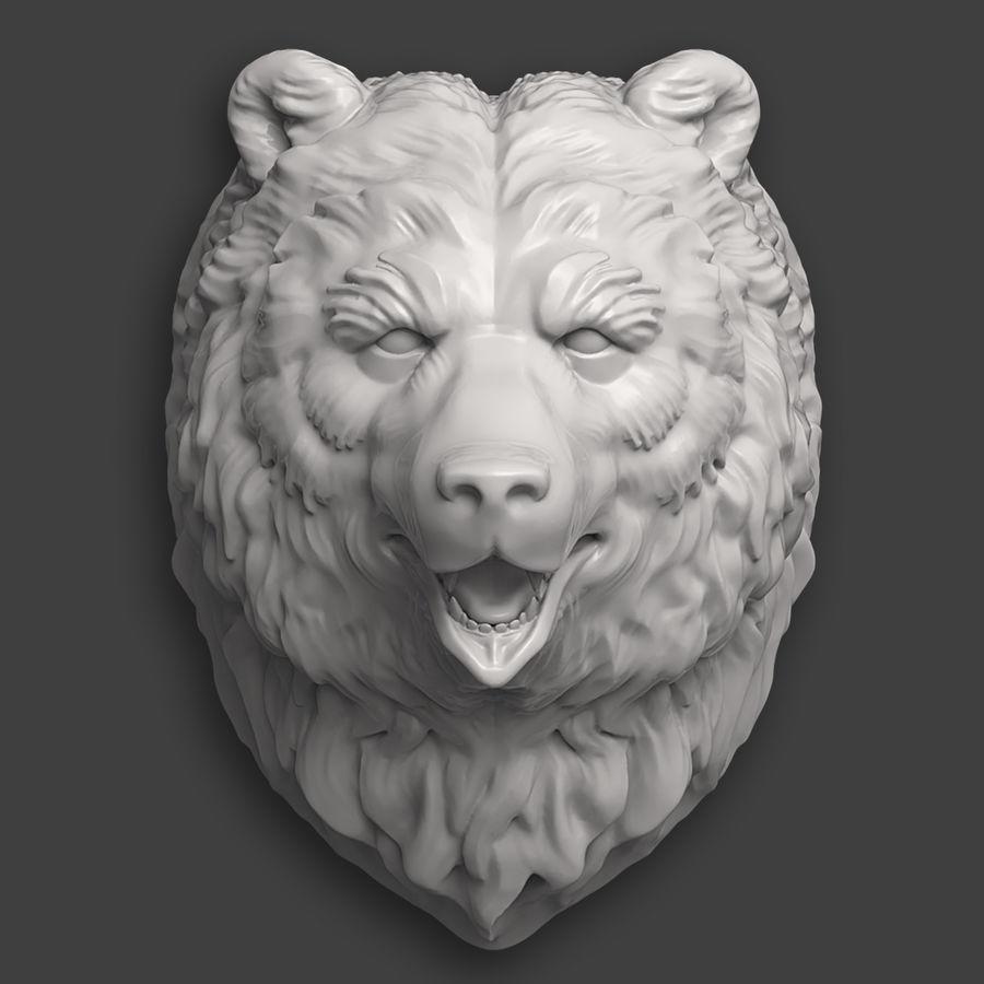 熊头雕塑 royalty-free 3d model - Preview no. 3