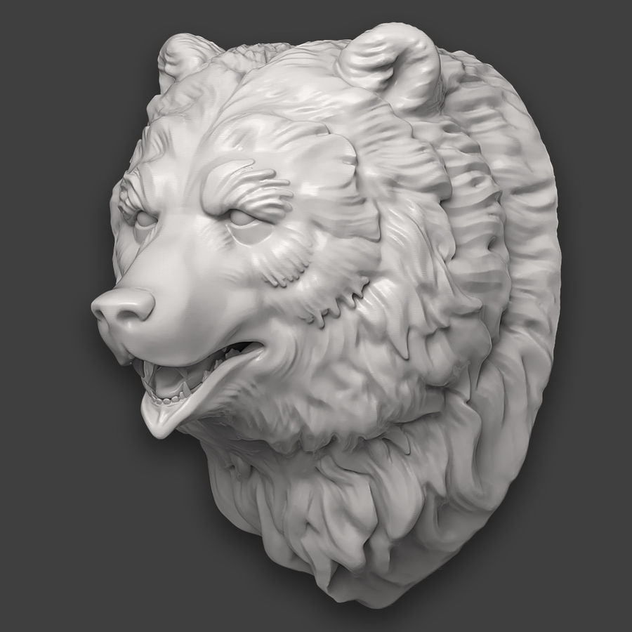 Bear Head Sculpture royalty-free 3d model - Preview no. 5