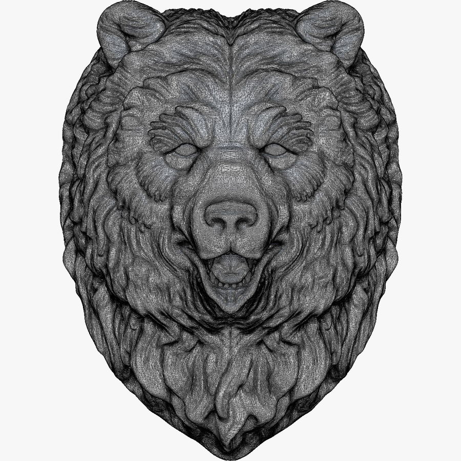 Bear Head Sculpture royalty-free 3d model - Preview no. 10