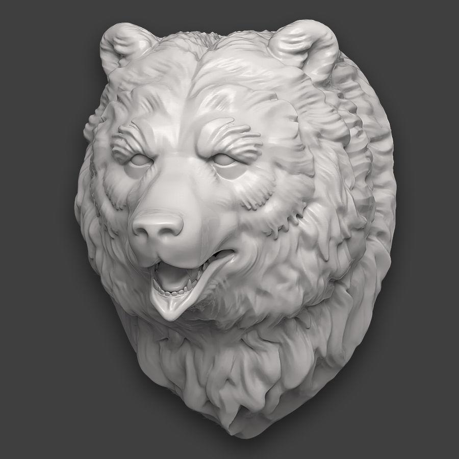 熊头雕塑 royalty-free 3d model - Preview no. 4