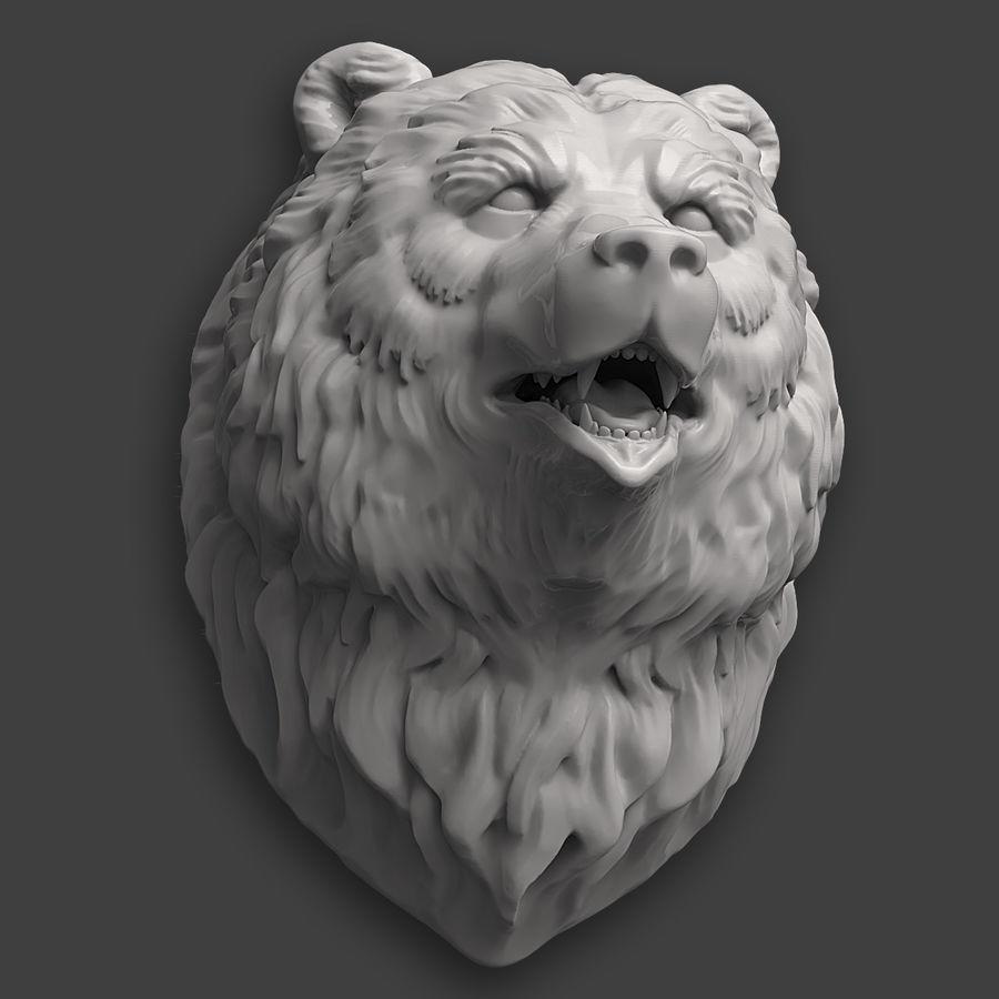 熊头雕塑 royalty-free 3d model - Preview no. 8