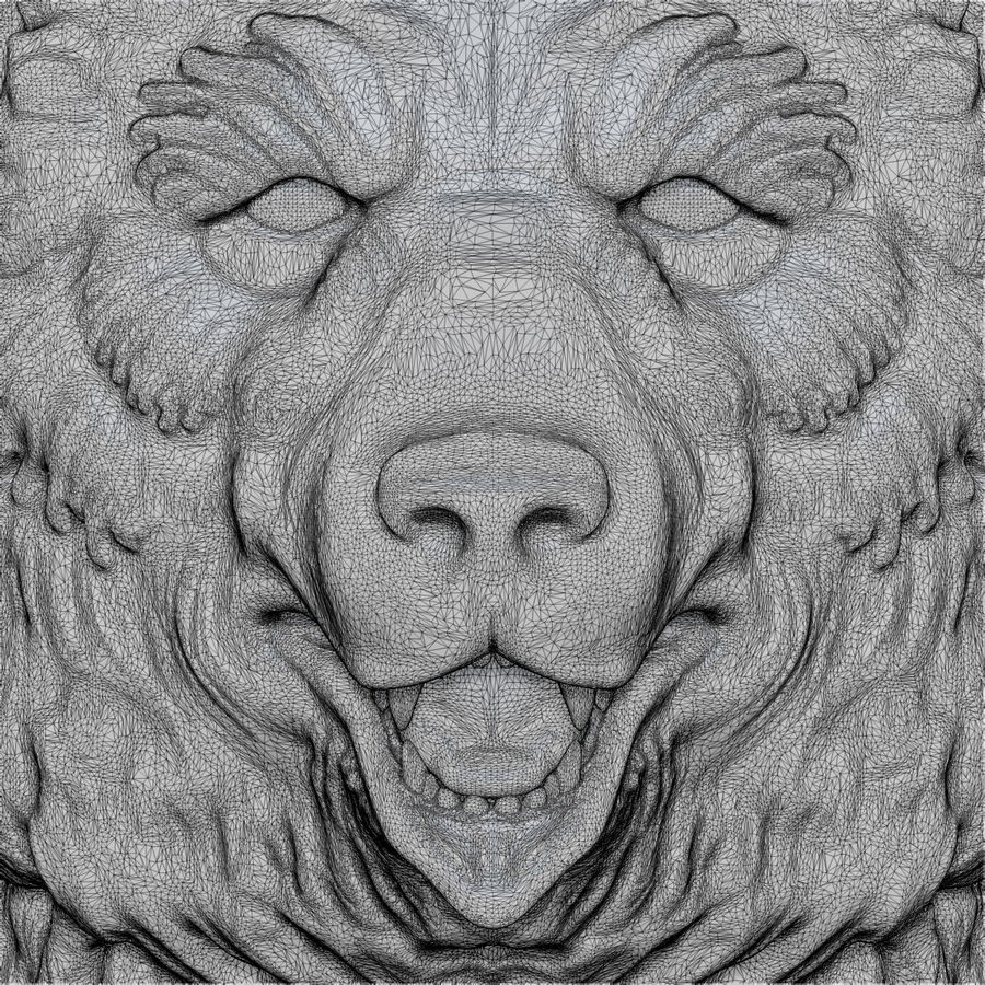 Bear Head Sculpture royalty-free 3d model - Preview no. 11