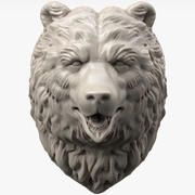 Sculpture tête d'ours 3d model
