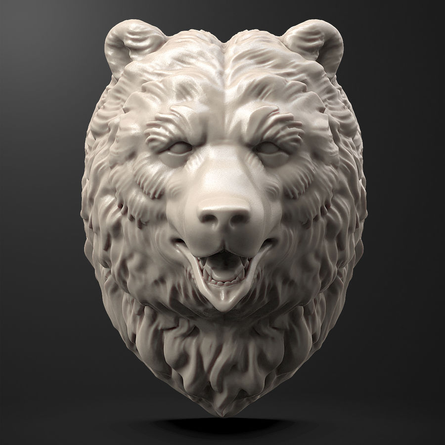 熊头雕塑 royalty-free 3d model - Preview no. 2