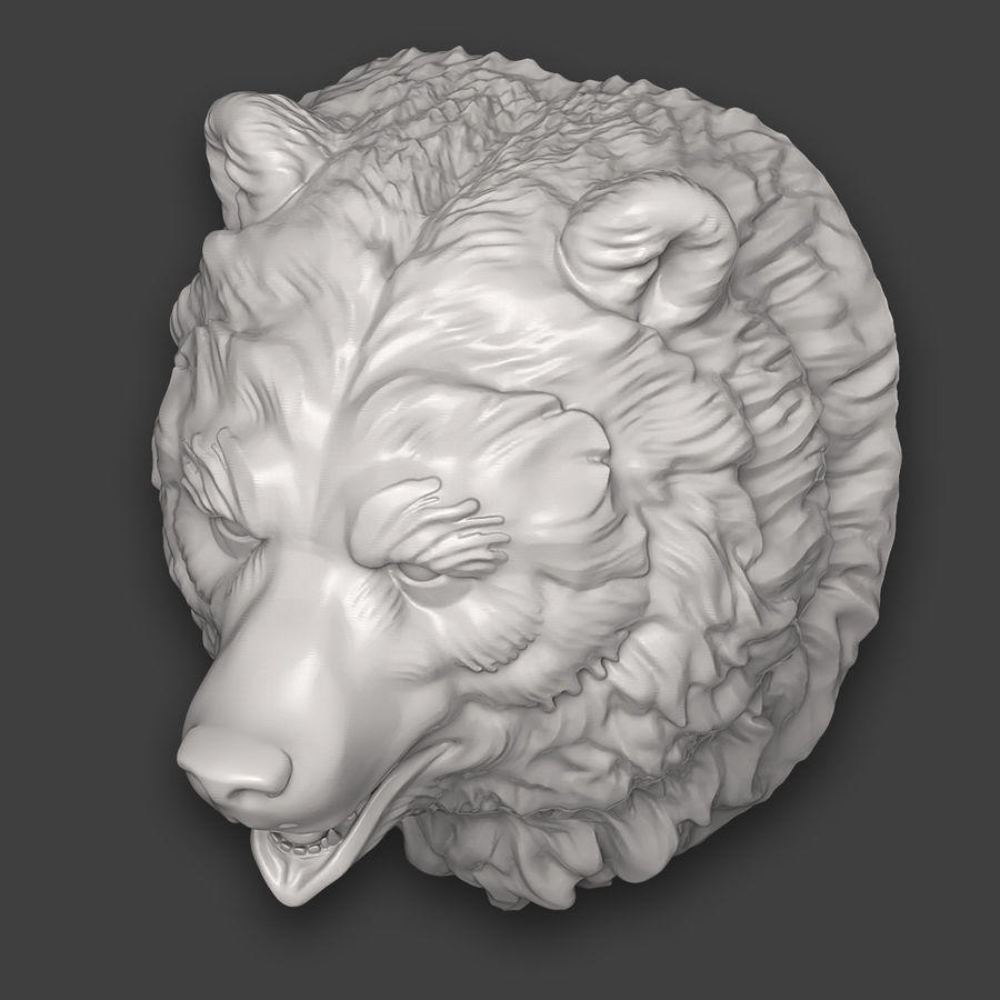 Bear Head Sculpture royalty-free 3d model - Preview no. 9