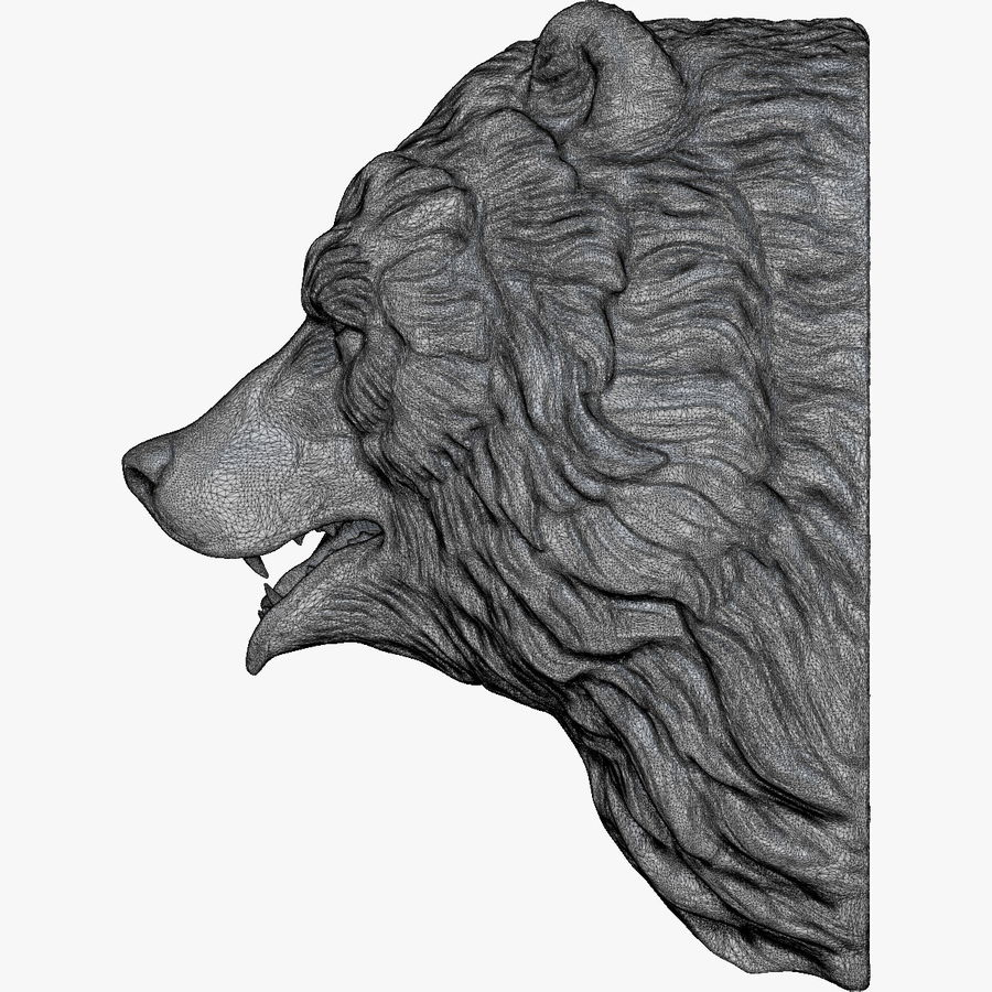 Bear Head Sculpture royalty-free 3d model - Preview no. 12