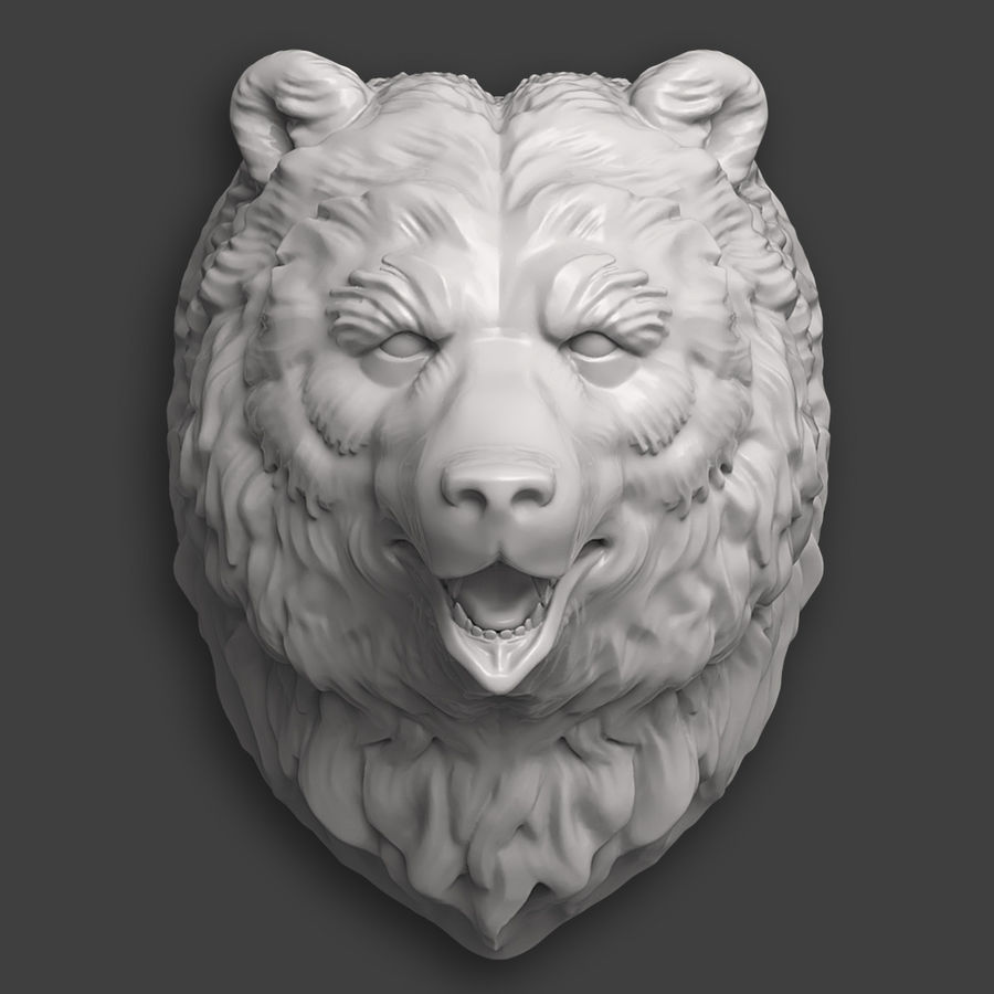 Bear Head Sculpture royalty-free 3d model - Preview no. 3