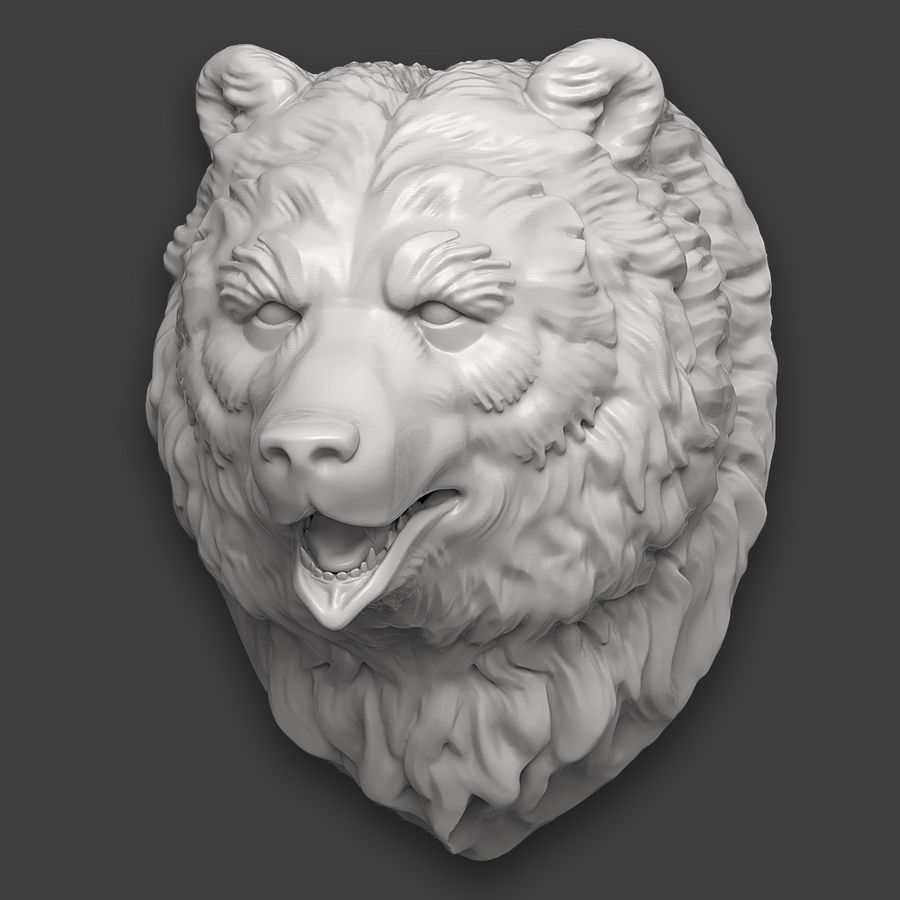 Bear Head Sculpture royalty-free 3d model - Preview no. 4