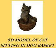 Realistisk katt i korg 3d model