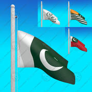 Flags of PAKISTAN - Animated collection 3d model