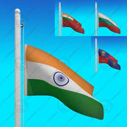 Flags of INDIA - Animated LOOP collection 3d model