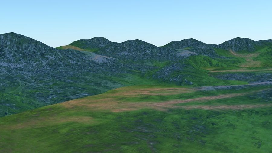 Hill terrain royalty-free 3d model - Preview no. 4