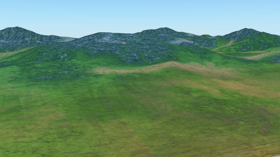 Hill terrain royalty-free 3d model - Preview no. 1