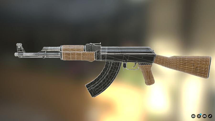 AK-47 for Games royalty-free 3d model - Preview no. 5