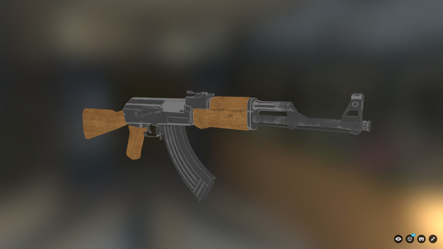 AK-47 for Games royalty-free 3d model - Preview no. 2