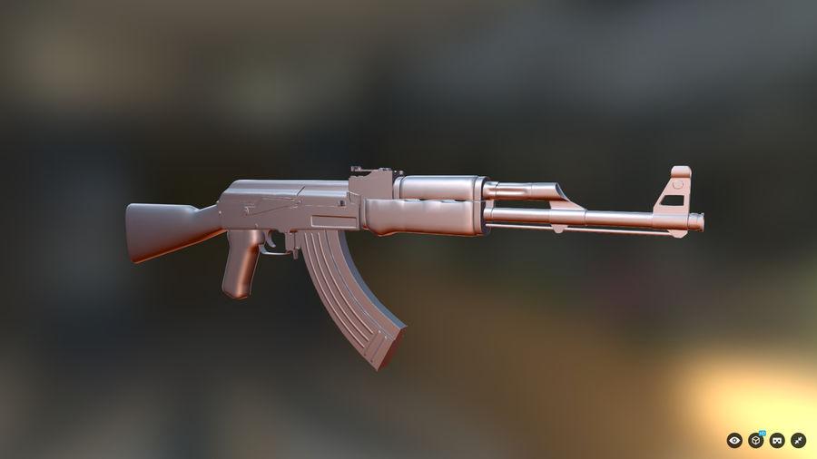 AK-47游戏 royalty-free 3d model - Preview no. 3