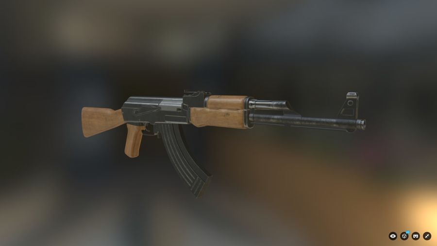 AK-47 for Games royalty-free 3d model - Preview no. 1