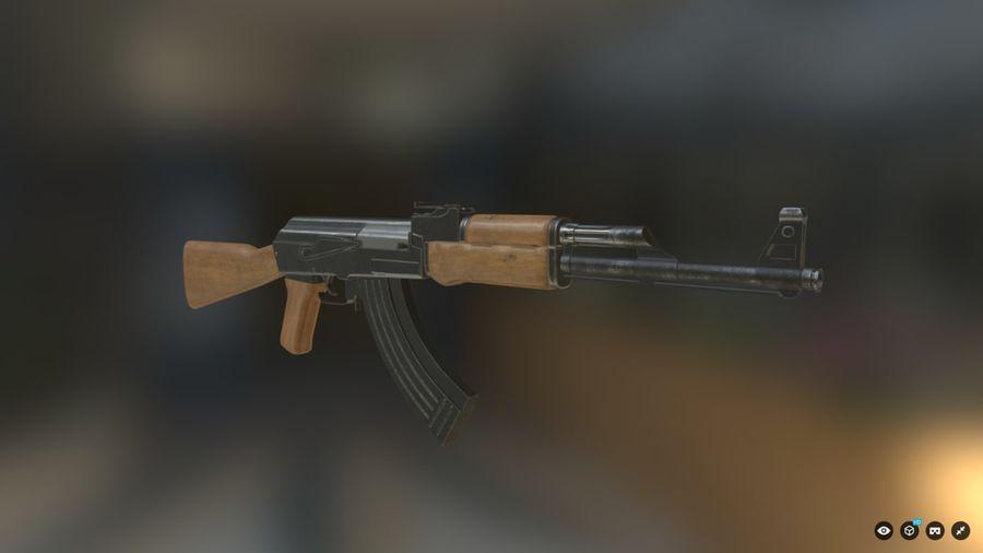 AK-47游戏 royalty-free 3d model - Preview no. 1