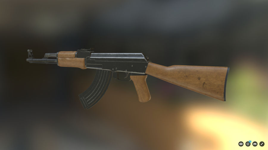 AK-47 for Games royalty-free 3d model - Preview no. 4