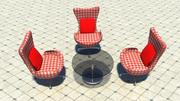 Stuhl mit Teetisch 3d model