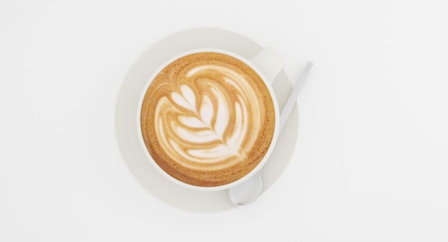 Cup of Cappuccino Coffee royalty-free 3d model - Preview no. 3