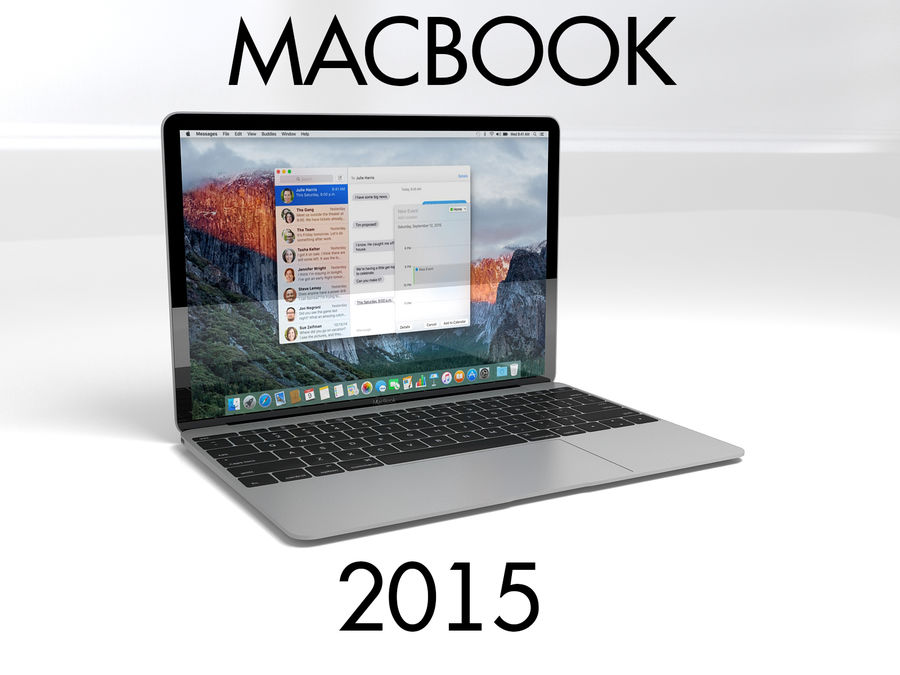 苹果Macbook 2015 royalty-free 3d model - Preview no. 1